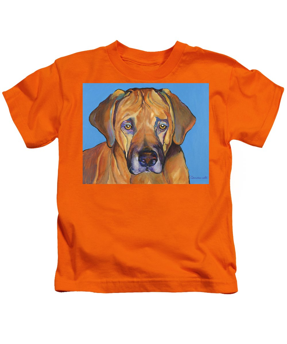 Rhodesian Ridgeback Dog Ridgeback African Colorful Orange Gold Yellow Red Kids T-Shirt featuring the painting Talen by Pat Saunders-White