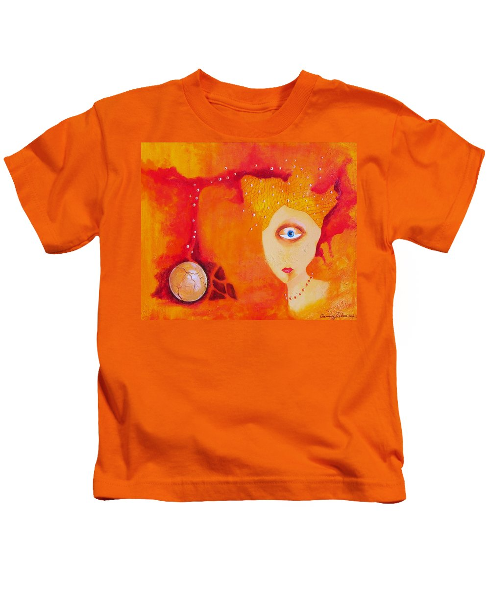 Tangerine Orange Eyes Woman Pearls Thoughts Life Egg Kids T-Shirt featuring the painting Tangerine Dream by Veronica Jackson