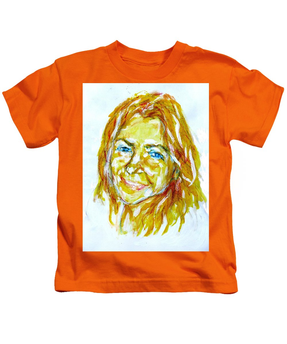 Tania Helft Kids T-Shirt featuring the drawing Tania Helft, Portrait by Sviatoslav Alexakhin