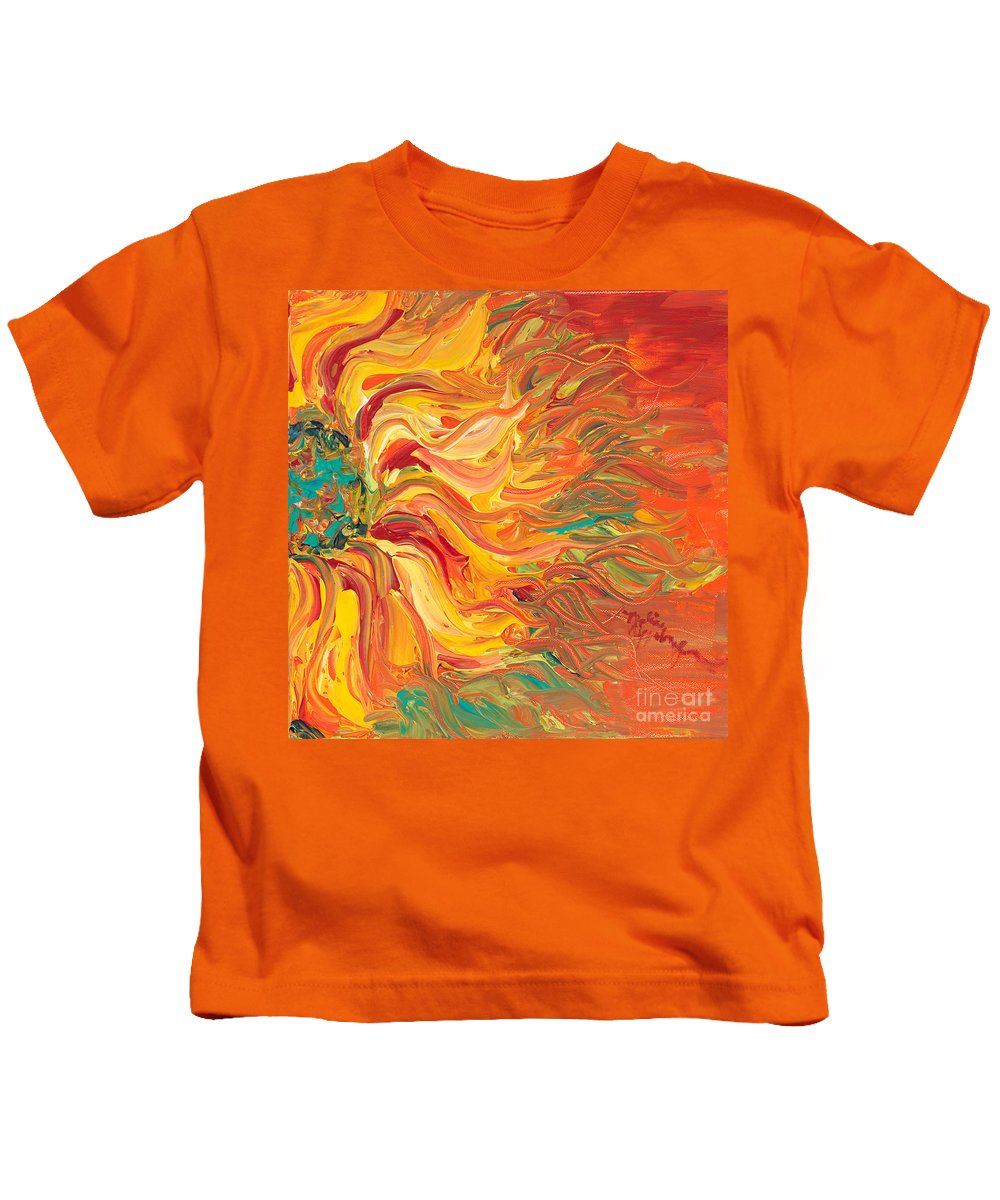 Sunjflower Kids T-Shirt featuring the painting Textured Fire Sunflower by Nadine Rippelmeyer