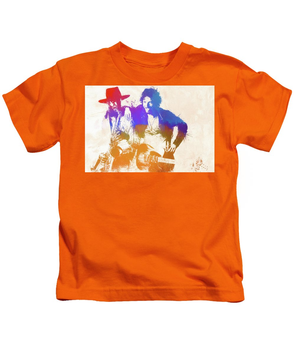 Bruce And The Big Man Kids T-Shirt featuring the painting The Boss And The Big Man by Dan Sproul