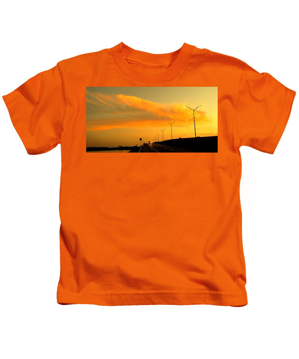 Sunset Kids T-Shirt featuring the photograph The Bridge At Sunset by Ian MacDonald