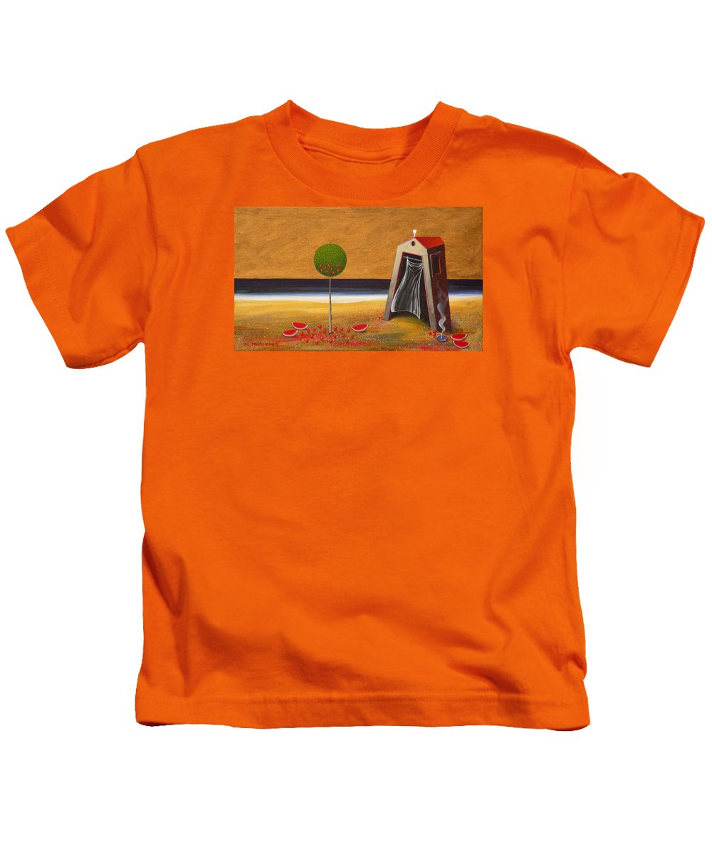Astronomy Kids T-Shirt featuring the painting the Buff House by Dimitris Milionis