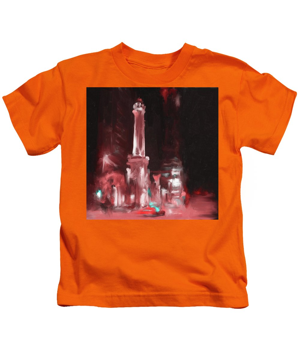 Chicago Kids T-Shirt featuring the painting The Chicago Water Tower by Mawra Tahreem