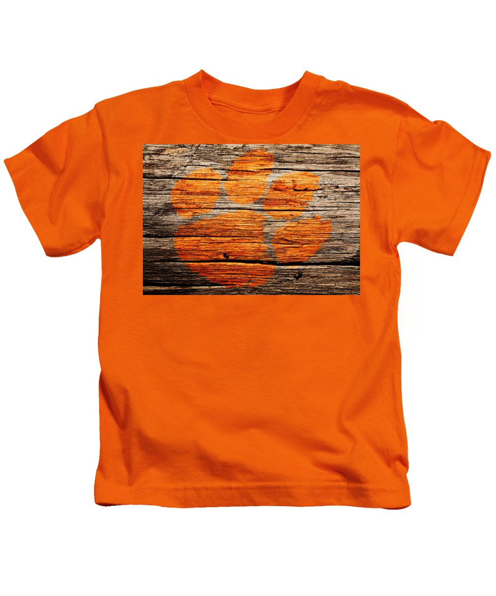 Clemson Tigers Football Kids T-Shirt featuring the mixed media The Clemson Tigers 1a by Brian Reaves