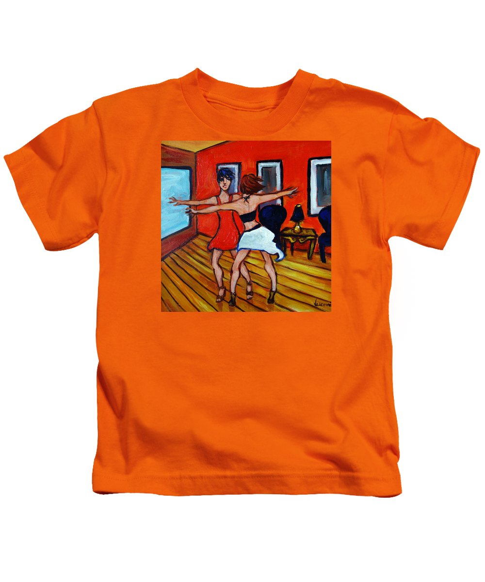 Dancers Kids T-Shirt featuring the painting The Dancers by Valerie Vescovi