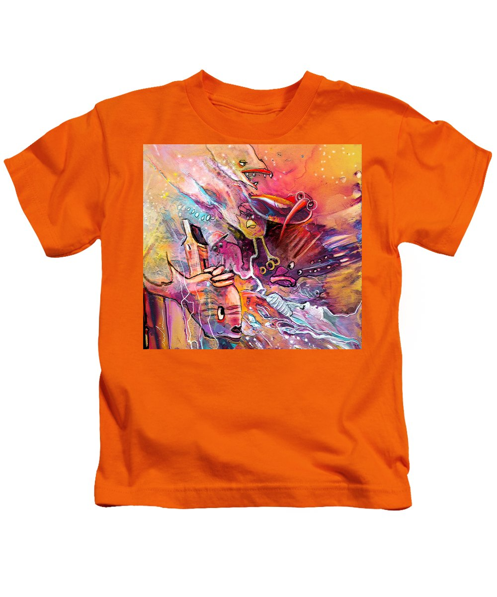 Fantasy Kids T-Shirt featuring the painting The Dream Of The Fish That Caried His House On His Back by Miki De Goodaboom