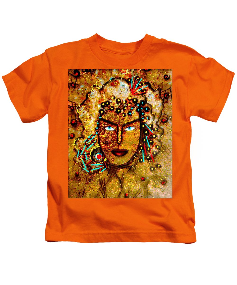 Goddess Kids T-Shirt featuring the painting The Golden Goddess by Natalie Holland