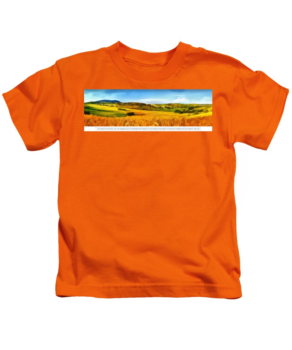 Christian Kids T-Shirt featuring the digital art The Harvest Is Plentiful by Dale Jackson