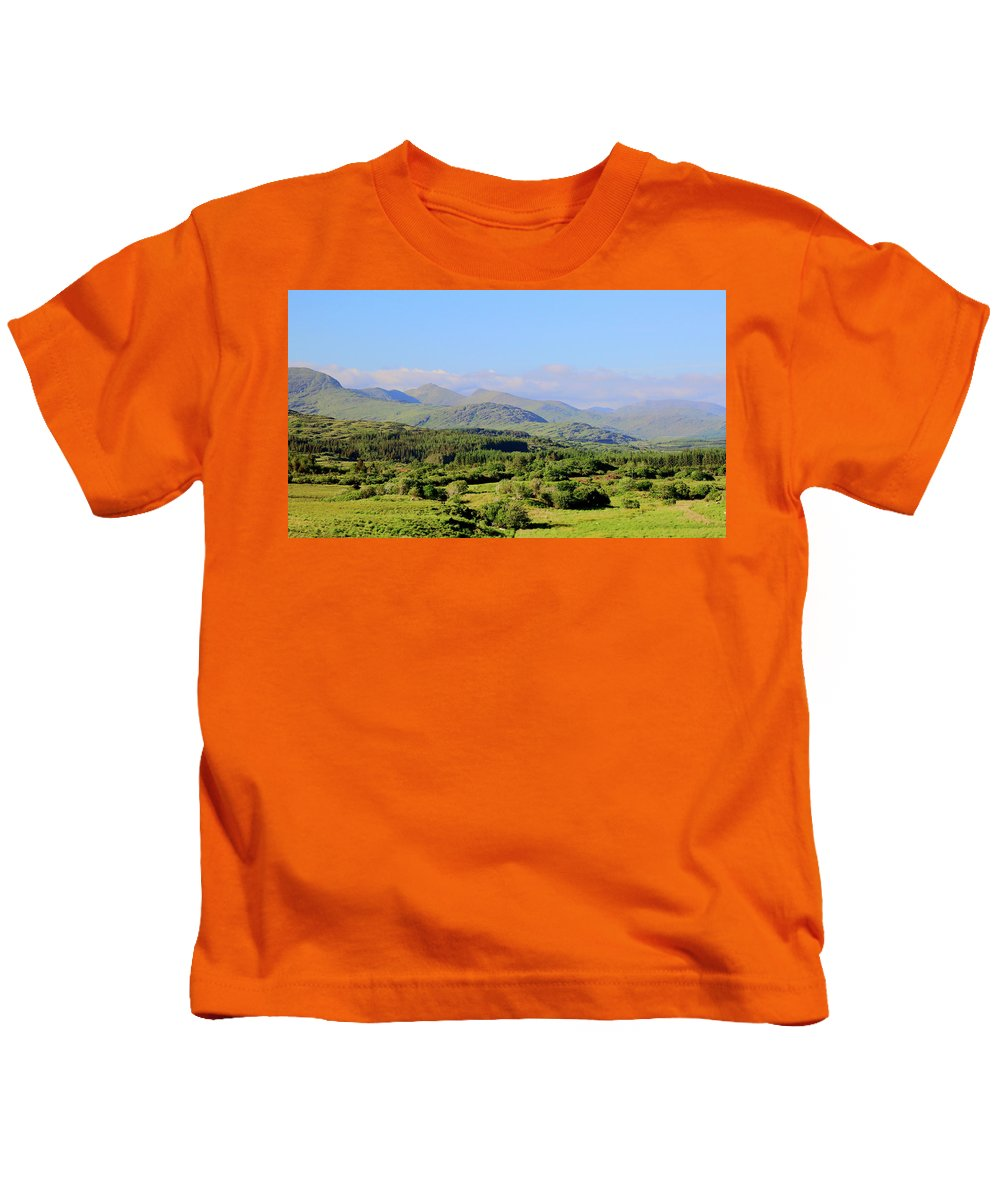 Landscape Hills Kids T-Shirt featuring the photograph The Hills Of Southern Ireland by Keith Thain