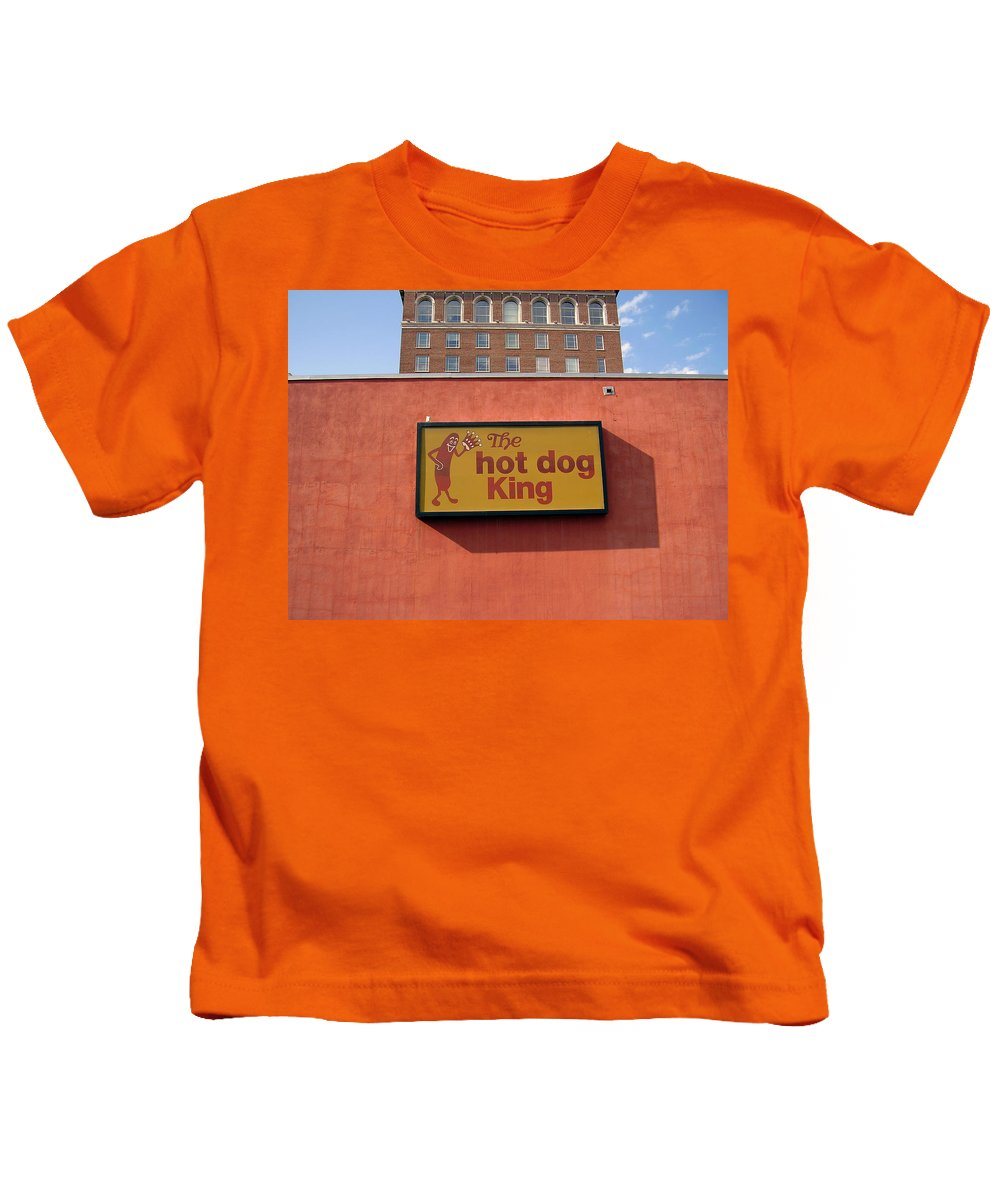 Hot Dog King Kids T-Shirt featuring the photograph The Hot Dog King by Flavia Westerwelle