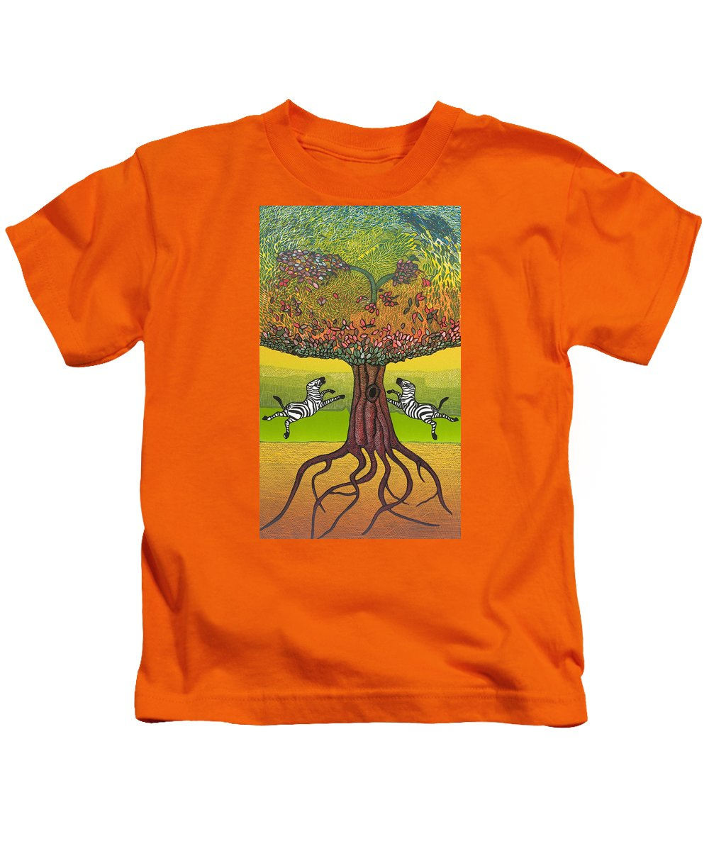 Landscape Kids T-Shirt featuring the mixed media The Life-giving Tree. by Jarle Rosseland