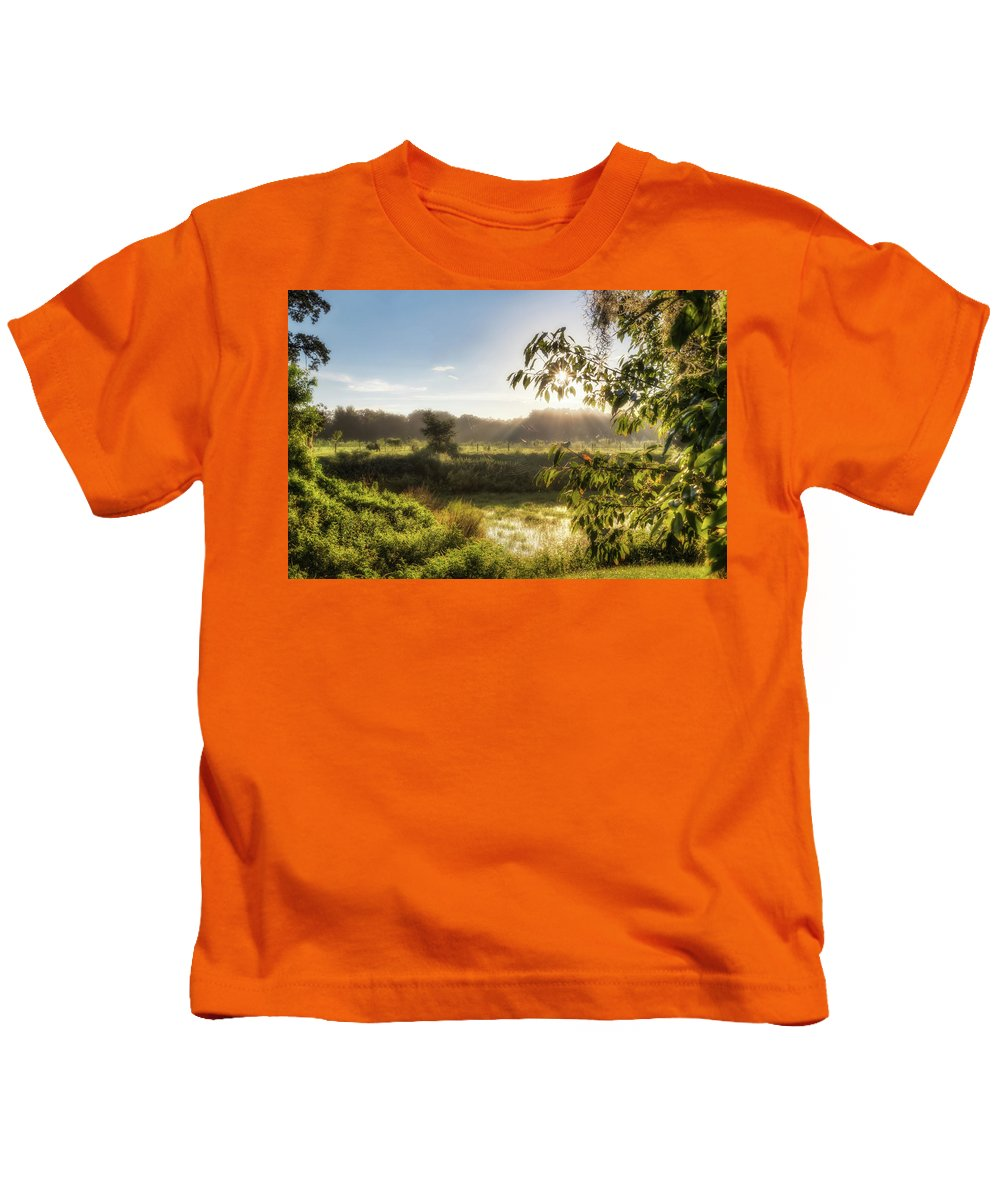 Sun Kids T-Shirt featuring the photograph The Mists Of The Morning by Ronald Kotinsky
