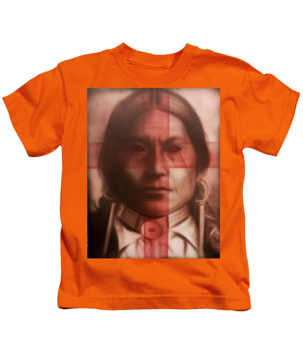 Native American Fedelino Kids T-Shirt featuring the painting The Noble Savage by Persengulo Fedelino