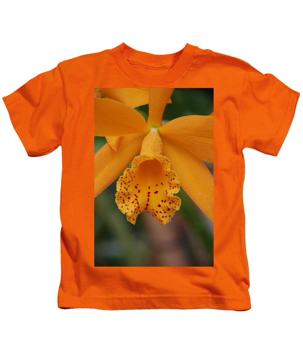 Yellow Kids T-Shirt featuring the photograph The Orange Orchid by Rob Hans