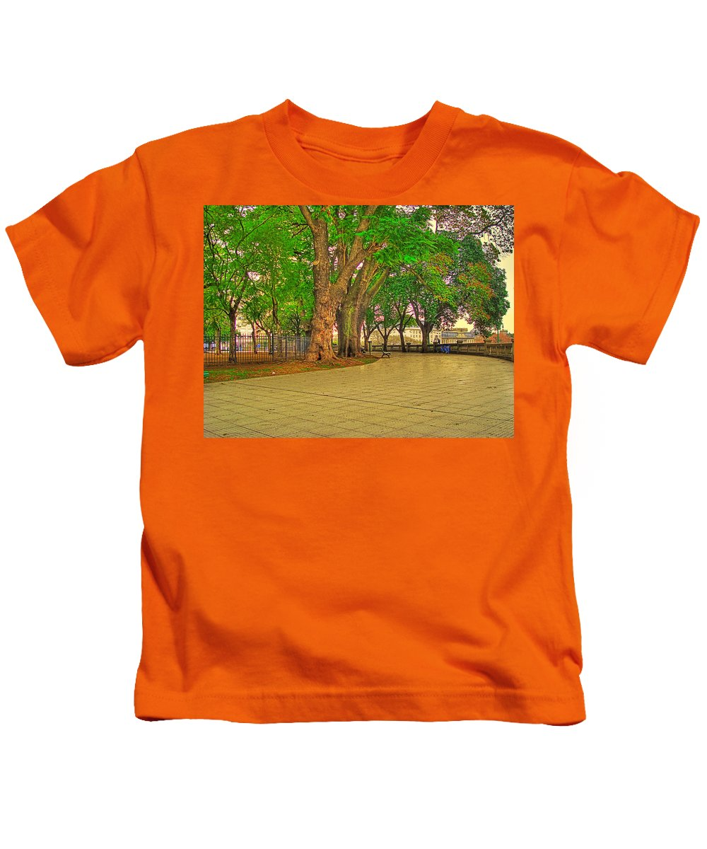 Trees Kids T-Shirt featuring the photograph The Park by Francisco Colon
