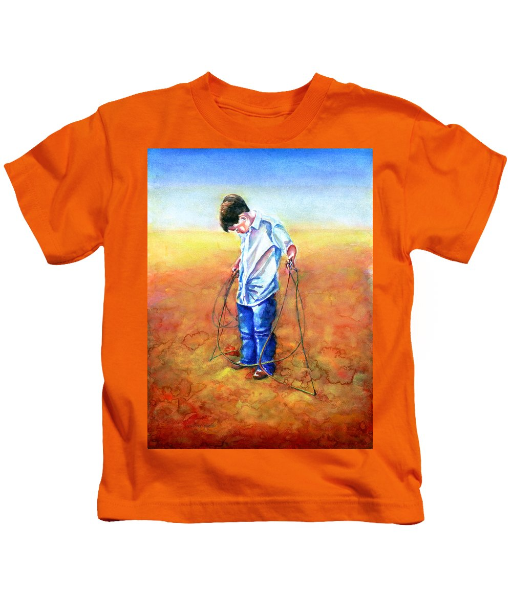 Child Kids T-Shirt featuring the painting The Roping Lesson by Shannon Grissom