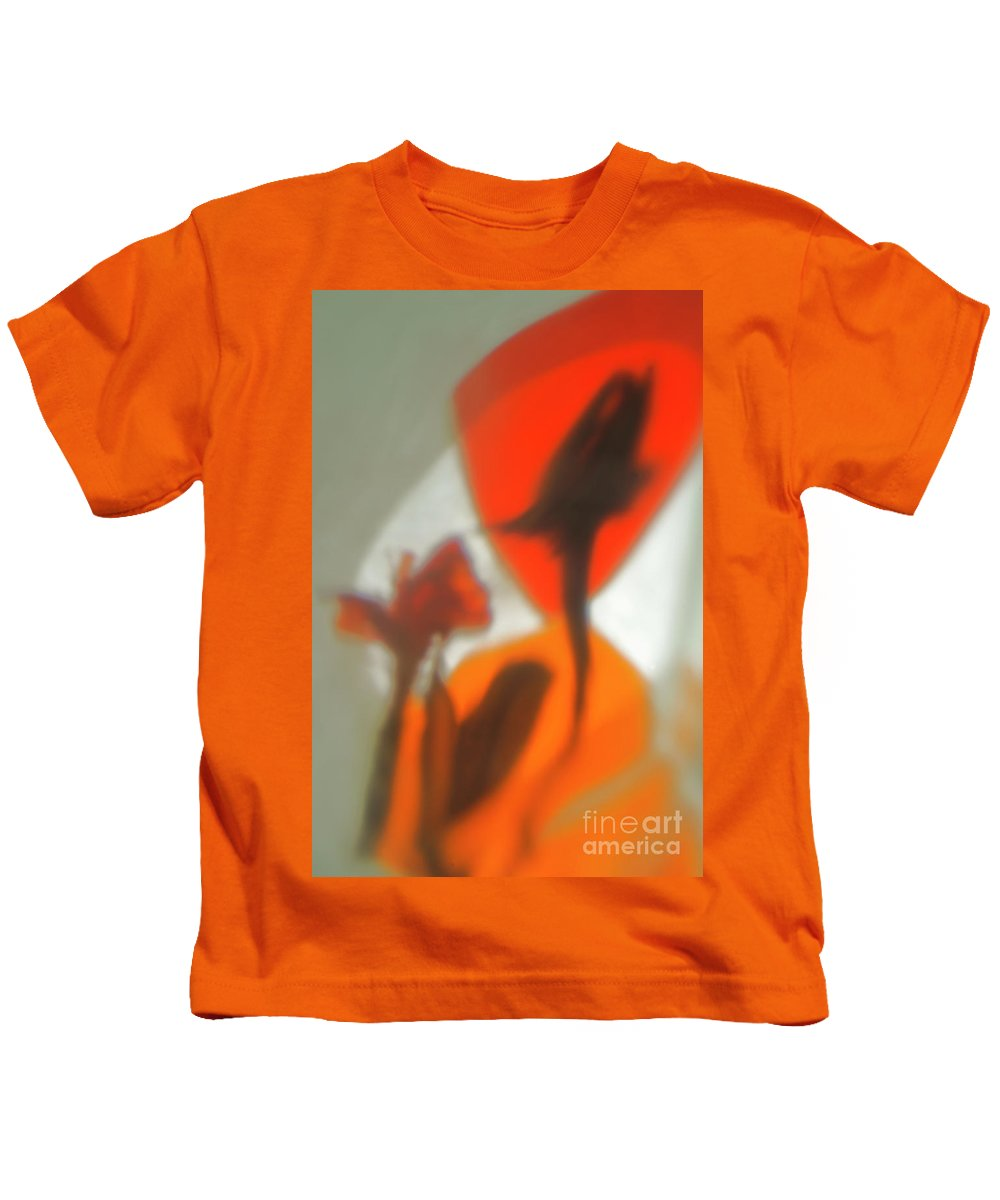 Still Life With Shadows Of Flowers By Alexander Vinogradov Kids T-Shirt featuring the photograph The Still Life With The Shadows Of The Flowers. by Alexander Vinogradov