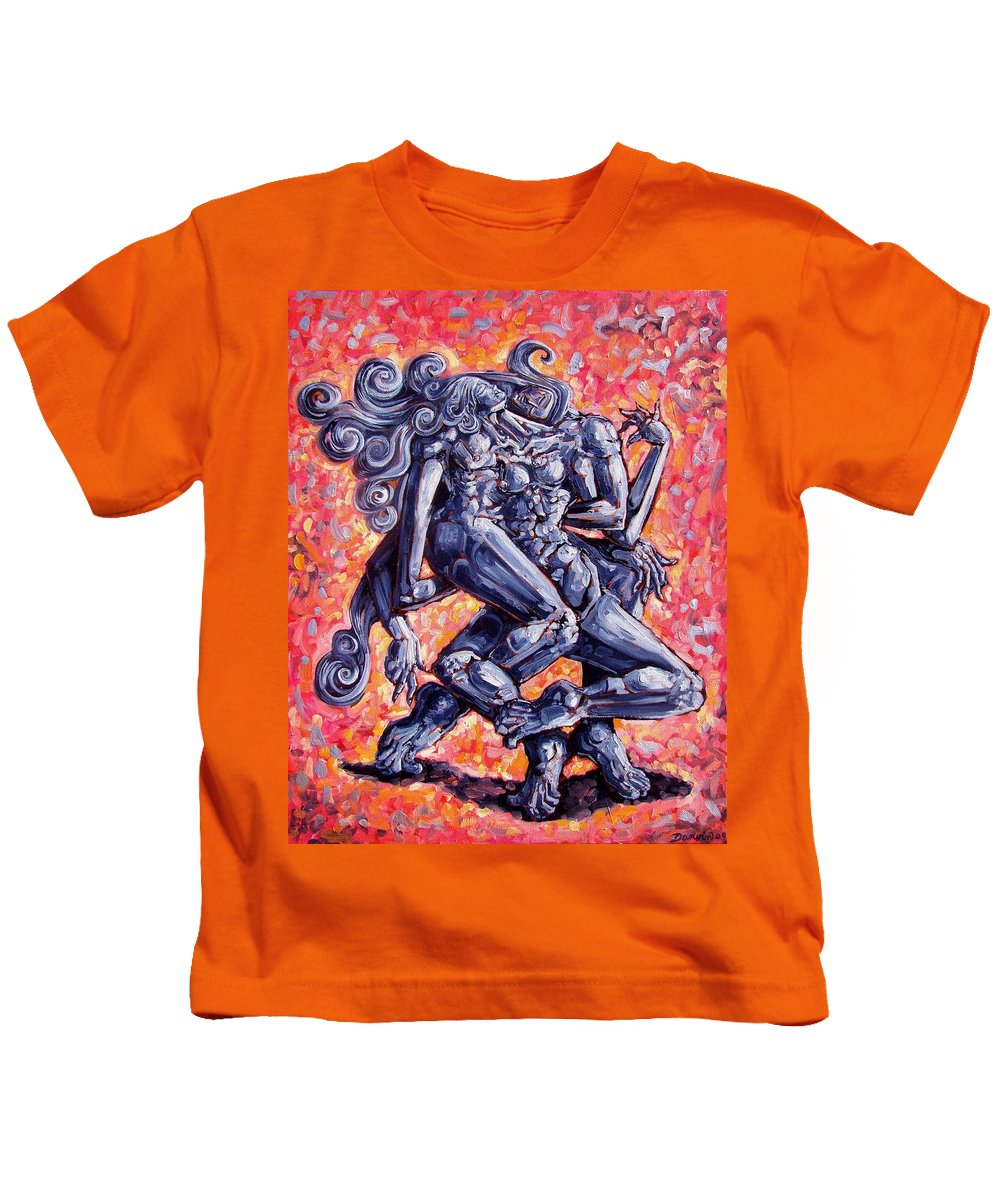 Surrealism Kids T-Shirt featuring the painting The Strangers by Darwin Leon