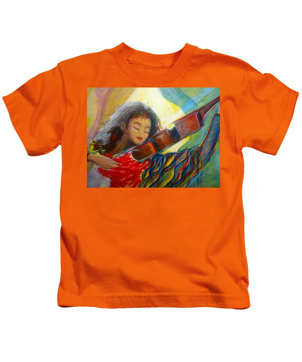 Violin Kids T-Shirt featuring the painting The Sweetest Sounds by Regina Walsh