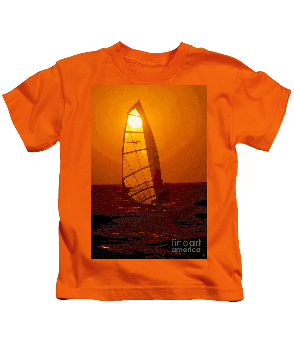 Windsurfing Kids T-Shirt featuring the painting The Windsurfer by David Lee Thompson