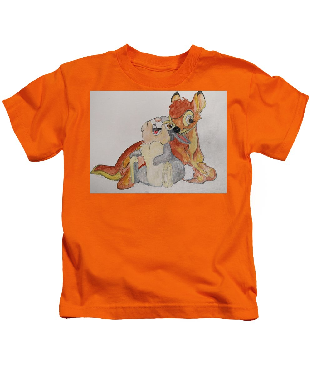 Thumper Bambi Disney Water Color Watercolors Kids T-Shirt featuring the painting Thumper And Bambi by Kenneth Pollard
