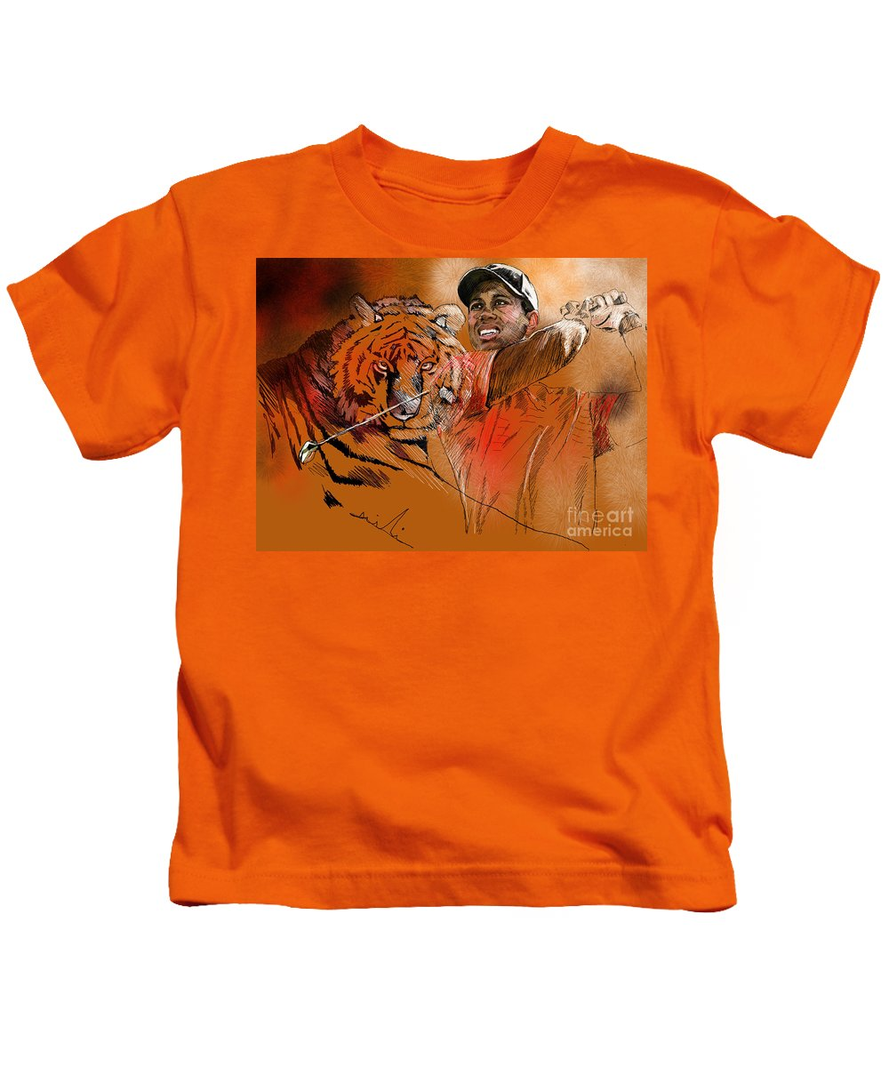 Golf Art Painting Portrait Tiger Woods Aninla Tiger Kids T-Shirt featuring the painting Tiger Woods Or Earn Your Stripes by Miki De Goodaboom
