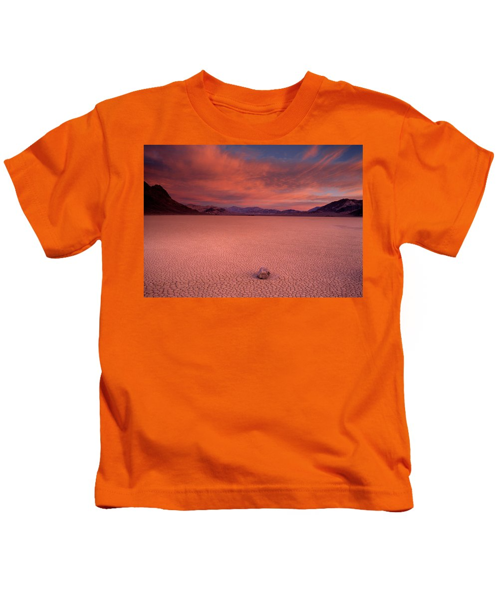 Race Track Valley Kids T-Shirt featuring the photograph Traveling Stone by Leland D Howard