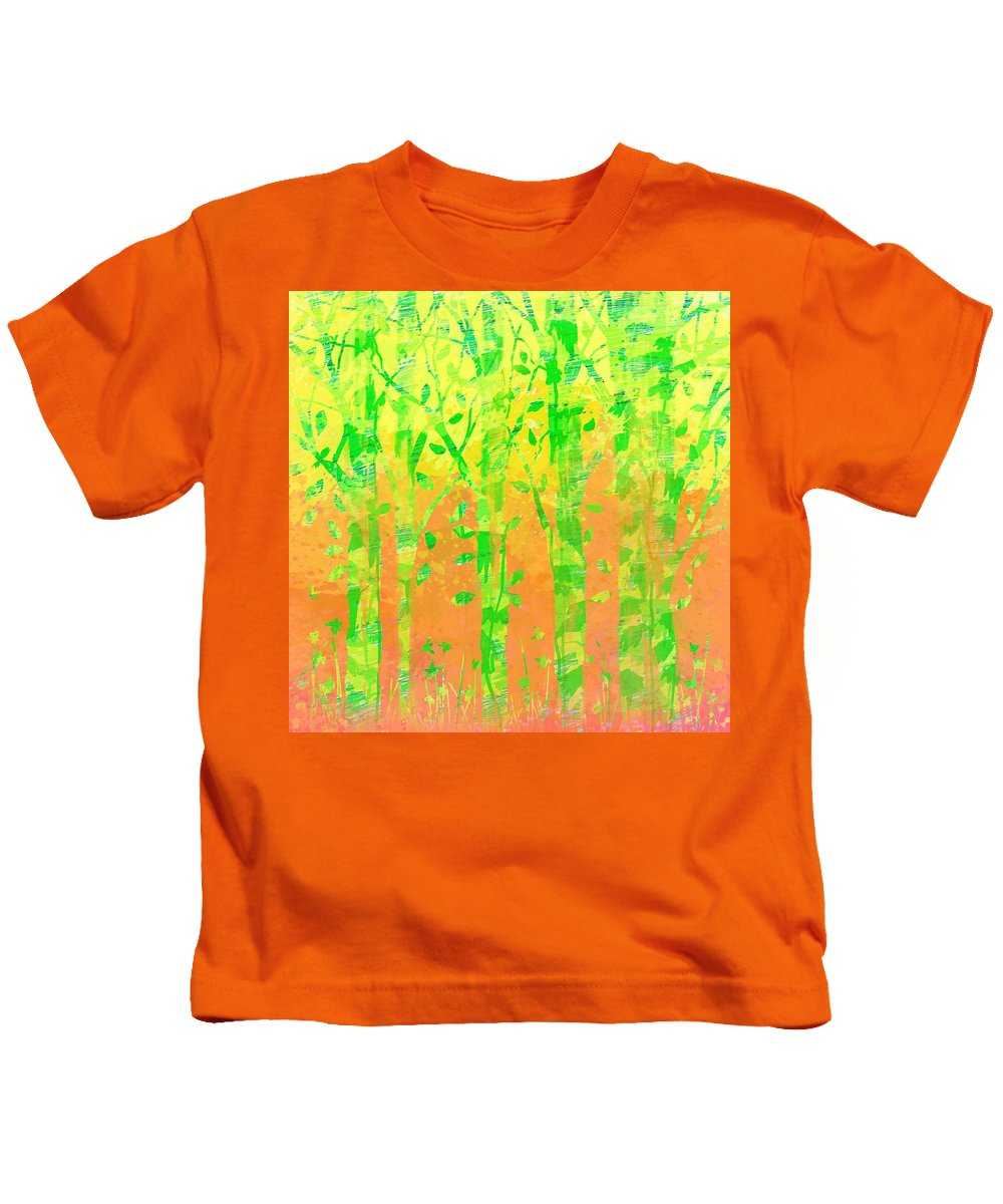 Abstract Kids T-Shirt featuring the digital art Trees In The Grass by Rachel Christine Nowicki