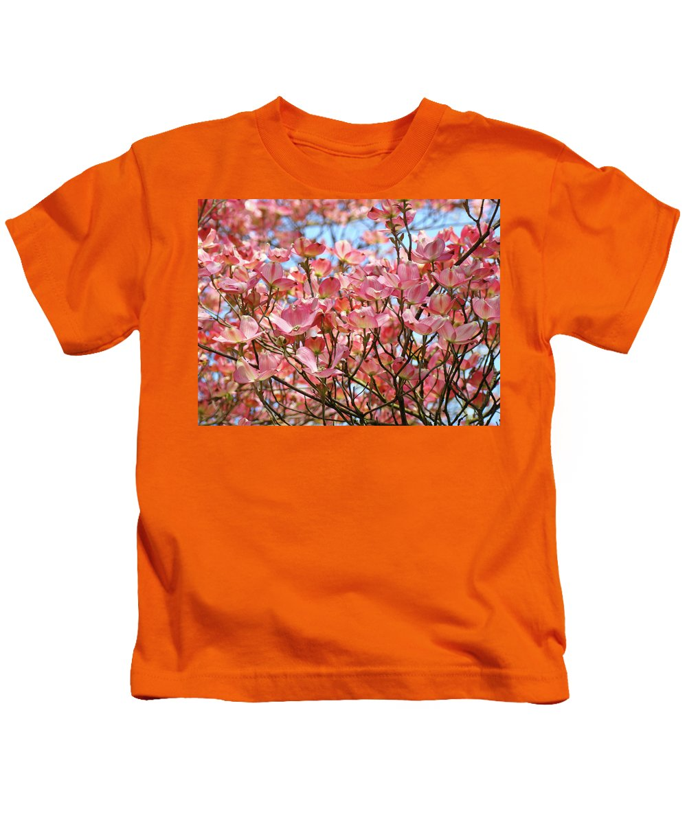 Dogwood Kids T-Shirt featuring the photograph Trees Pink Spring Dogwood Flowers Baslee Troutman by Baslee Troutman
