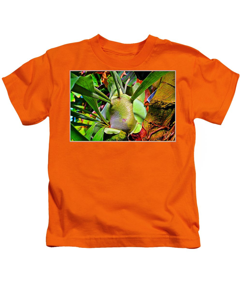 Tropics Kids T-Shirt featuring the painting Tropical Heat by Mindy Newman