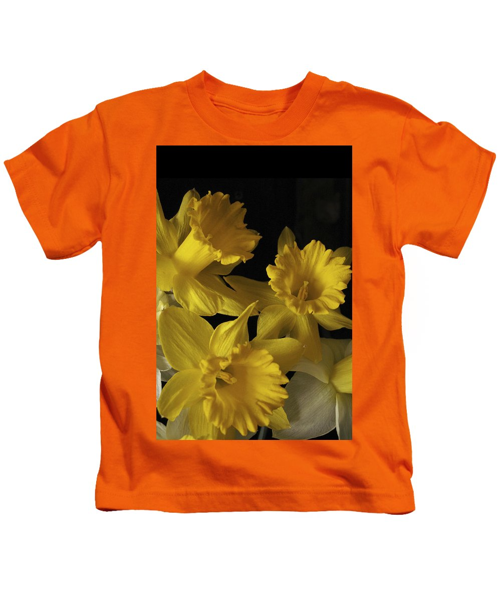 Macro Kids T-Shirt featuring the photograph Trumpet Daffodils by Nancy Griswold