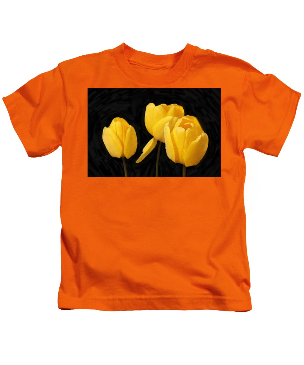 Spring Kids T-Shirt featuring the painting Tulips - Id 16235-220254-2672 by S Lurk