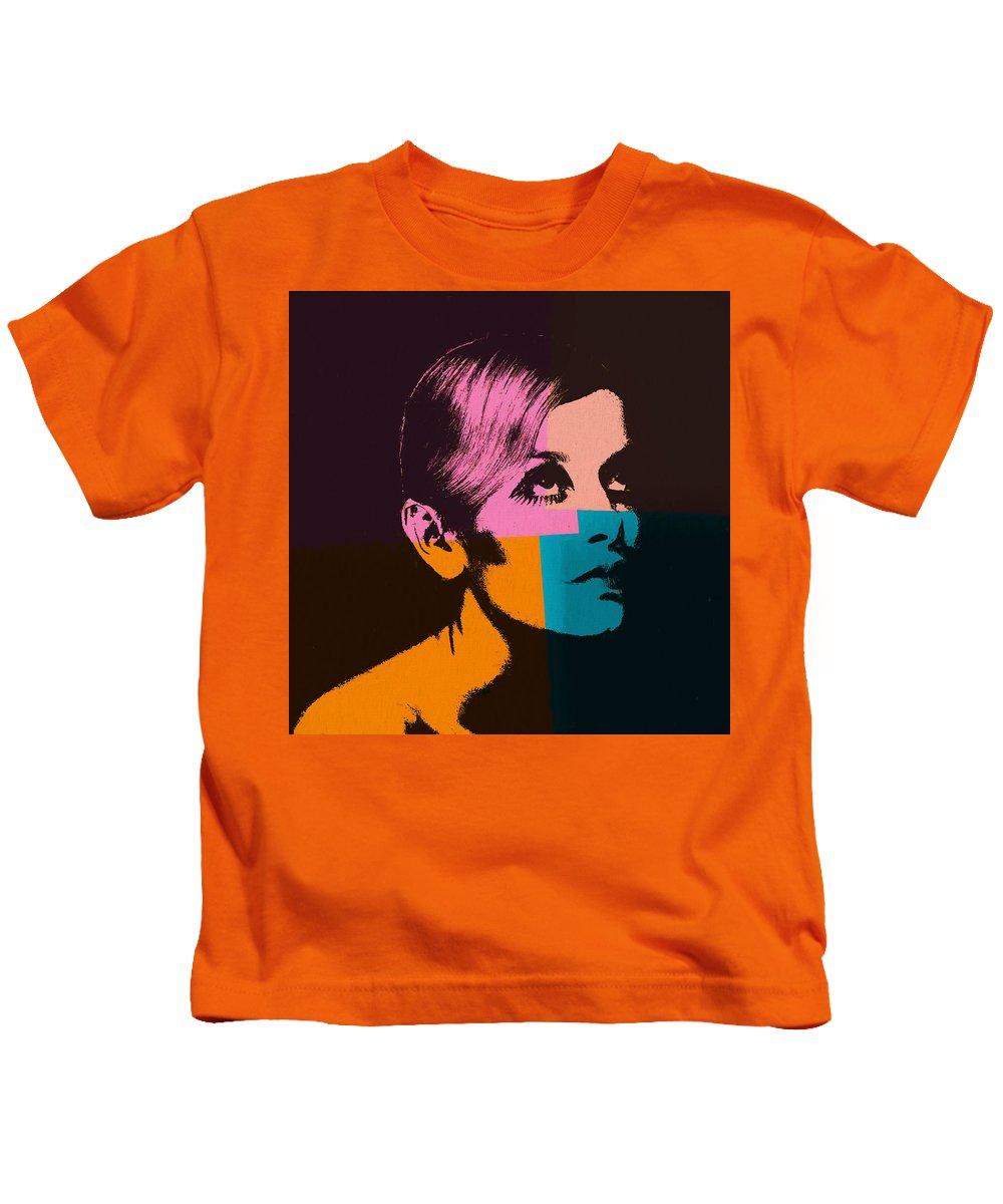 Twiggy Pop Art 2 Kids T-Shirt featuring the mixed media Twiggy Pop Art 2 by Dan Sproul