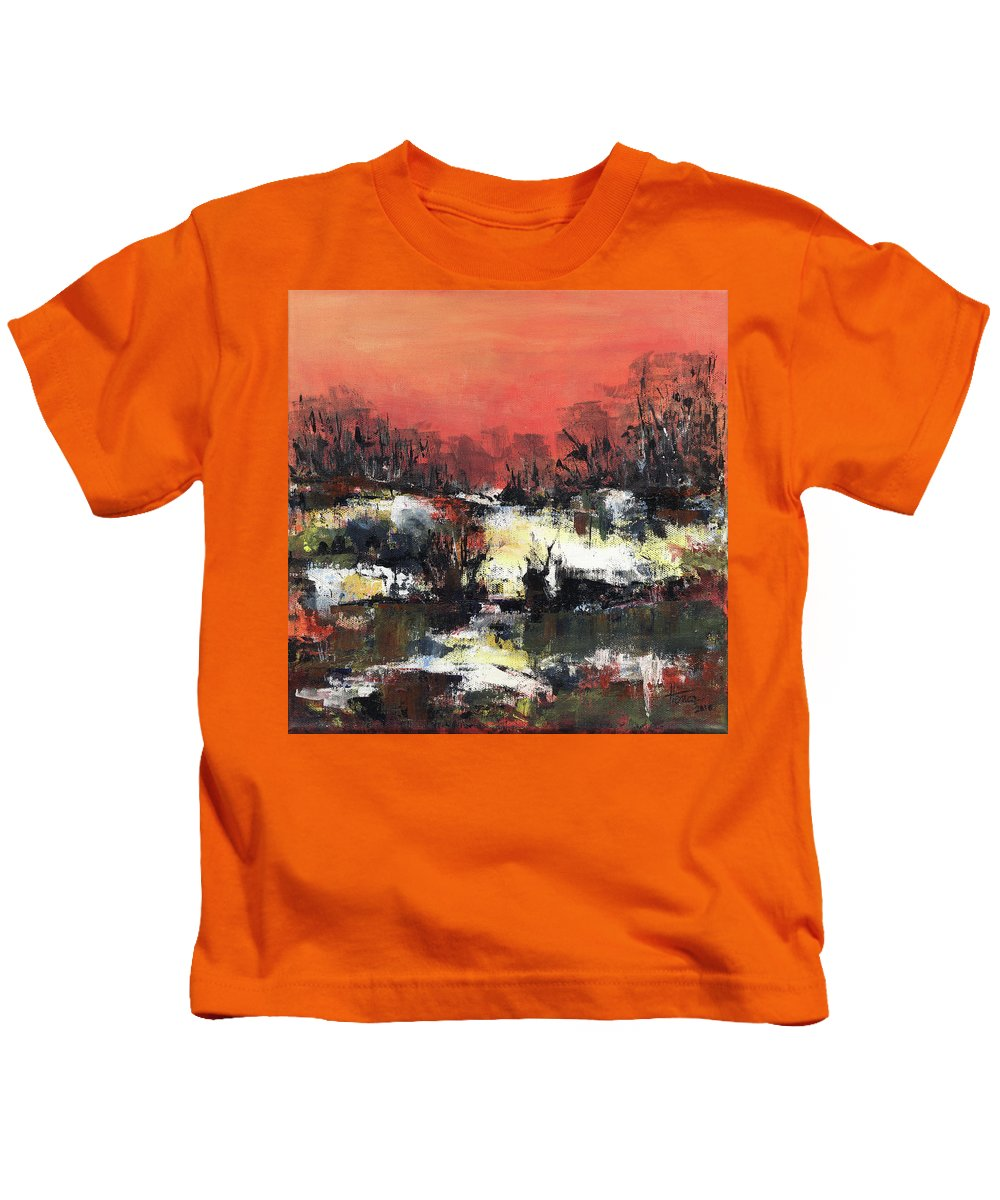 Abstract Kids T-Shirt featuring the painting Twilight Madness by Aniko Hencz