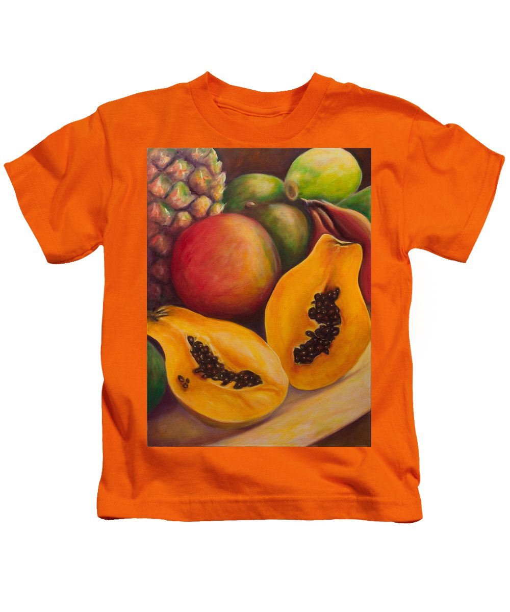 Papaya Kids T-Shirt featuring the painting Twins by Shannon Grissom