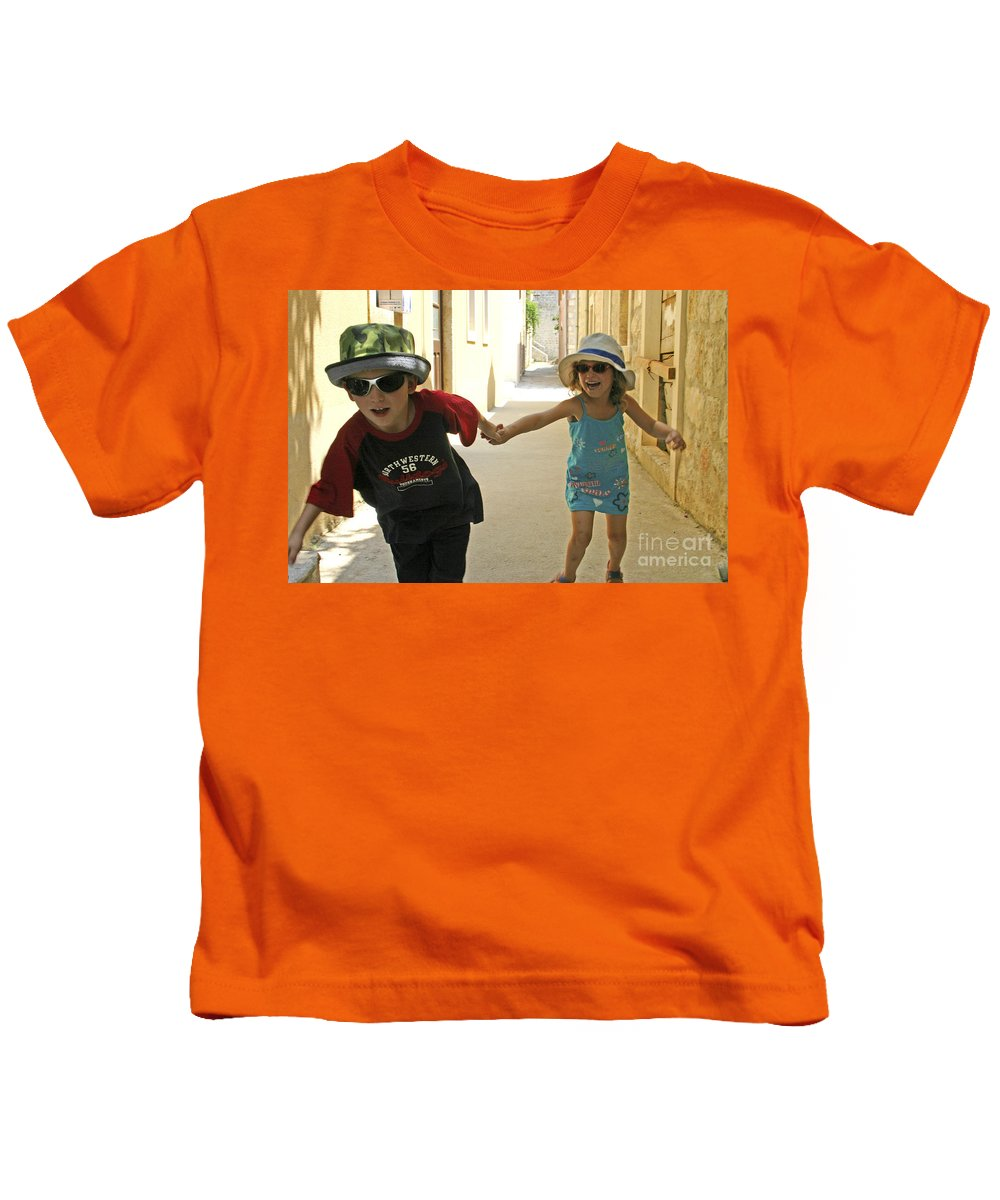 Child Kids T-Shirt featuring the photograph Two Excited Children by Danny Yanai