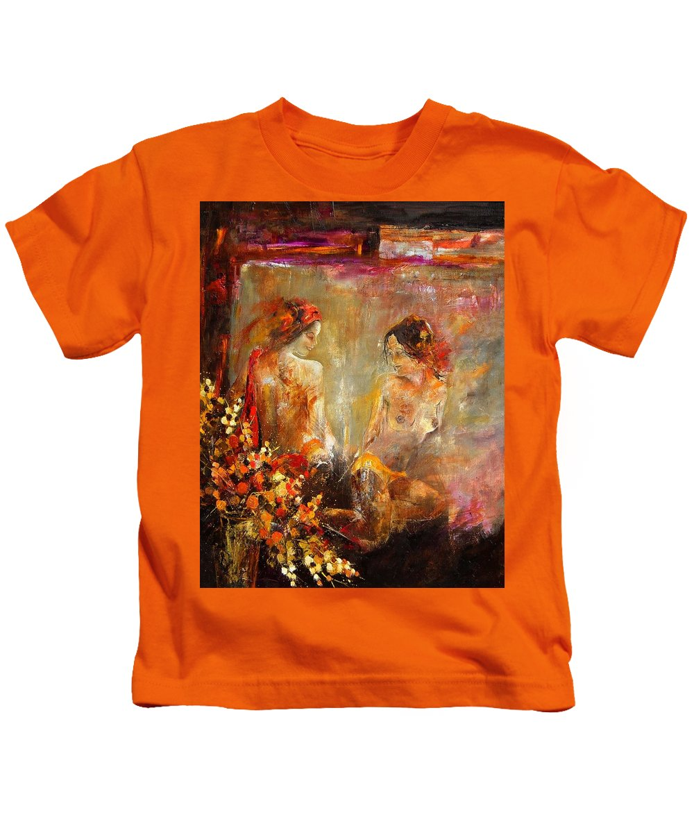 Girl Nude Kids T-Shirt featuring the painting Two Nudes by Pol Ledent