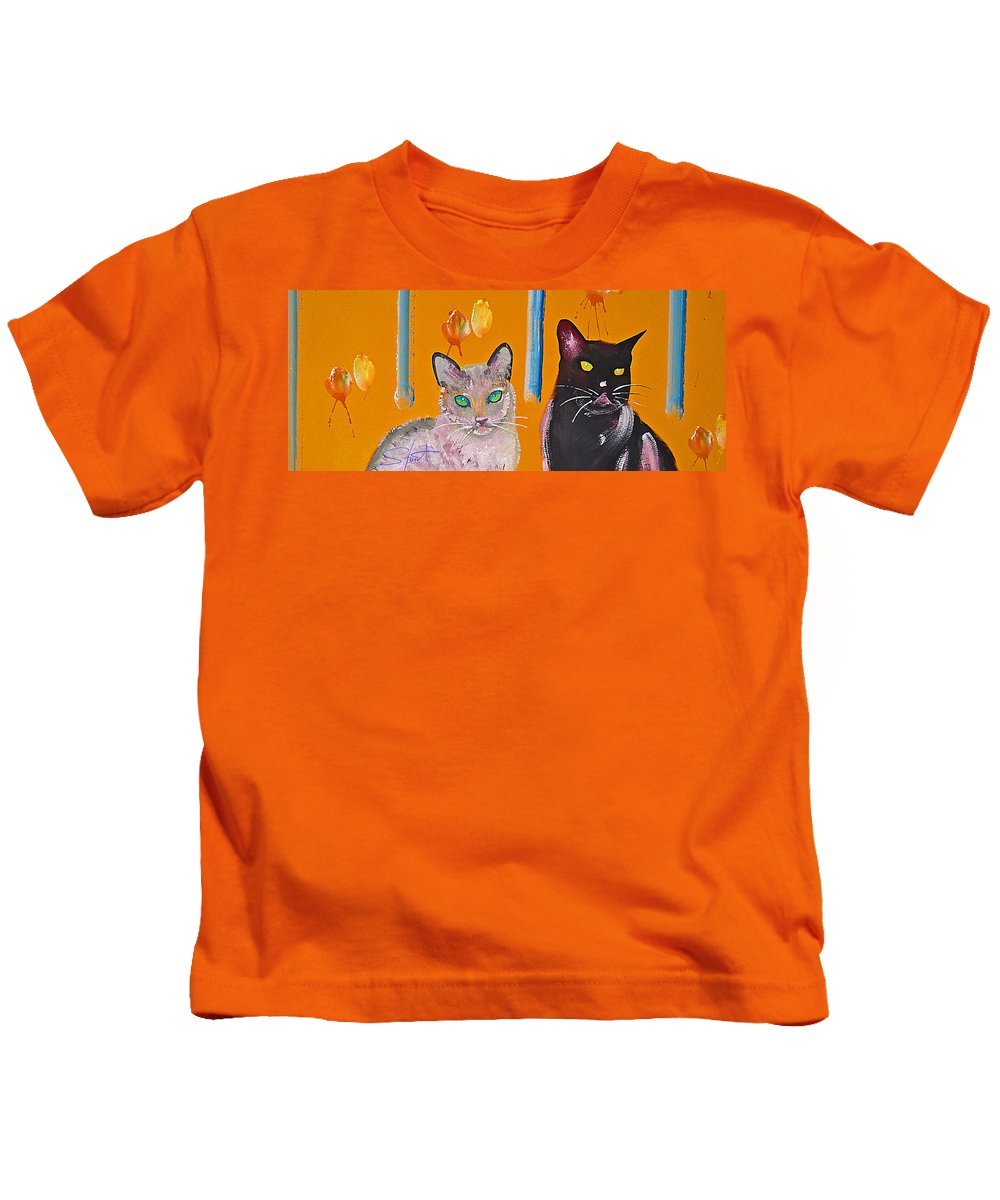 Cat Kids T-Shirt featuring the painting Two Superior Cats With Wild Wallpaper by Charles Stuart