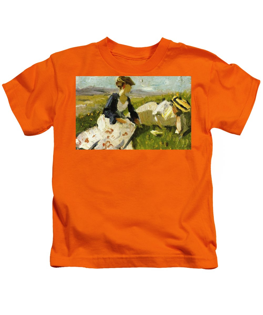 Two Kids T-Shirt featuring the painting Two Women On The Hillside 1906 by Marc Franz