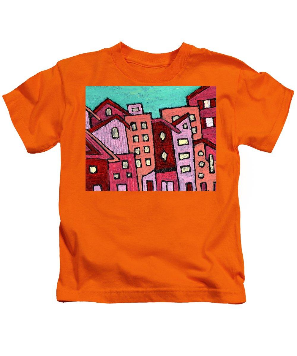 City Scene Kids T-Shirt featuring the painting Urban Heat by Wayne Potrafka