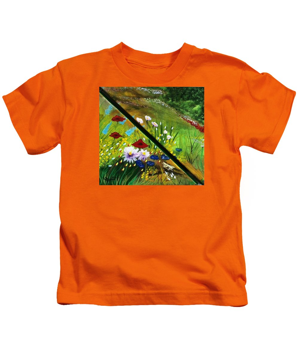 Valley Kids T-Shirt featuring the painting Valley by Sigita Smetonaite
