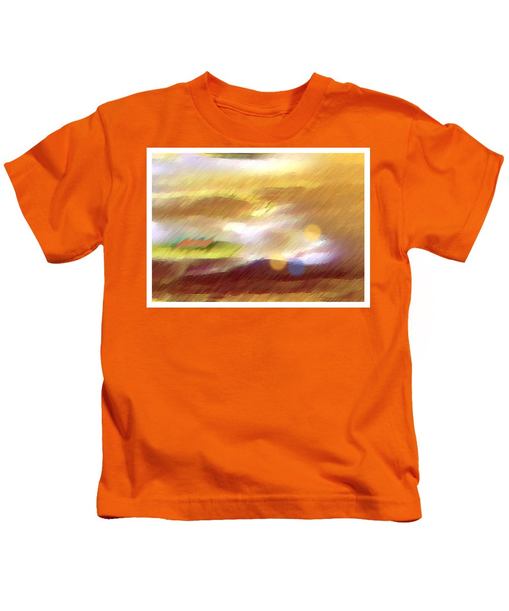 Landscape Kids T-Shirt featuring the painting Valleylights by Anil Nene