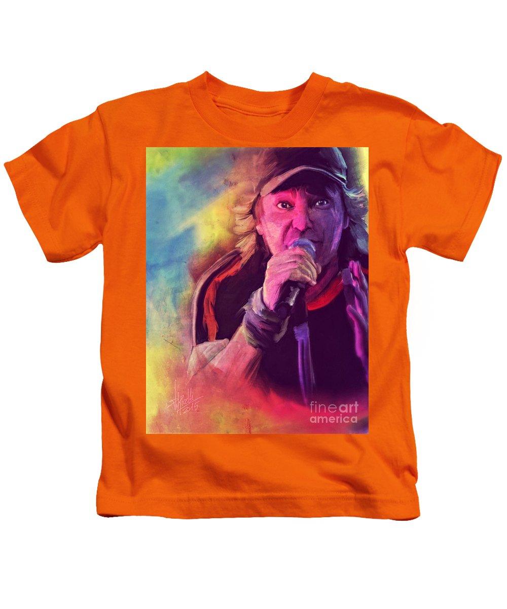 Portrait Kids T-Shirt featuring the digital art Vasco Rossi by Daniele Volpicelli