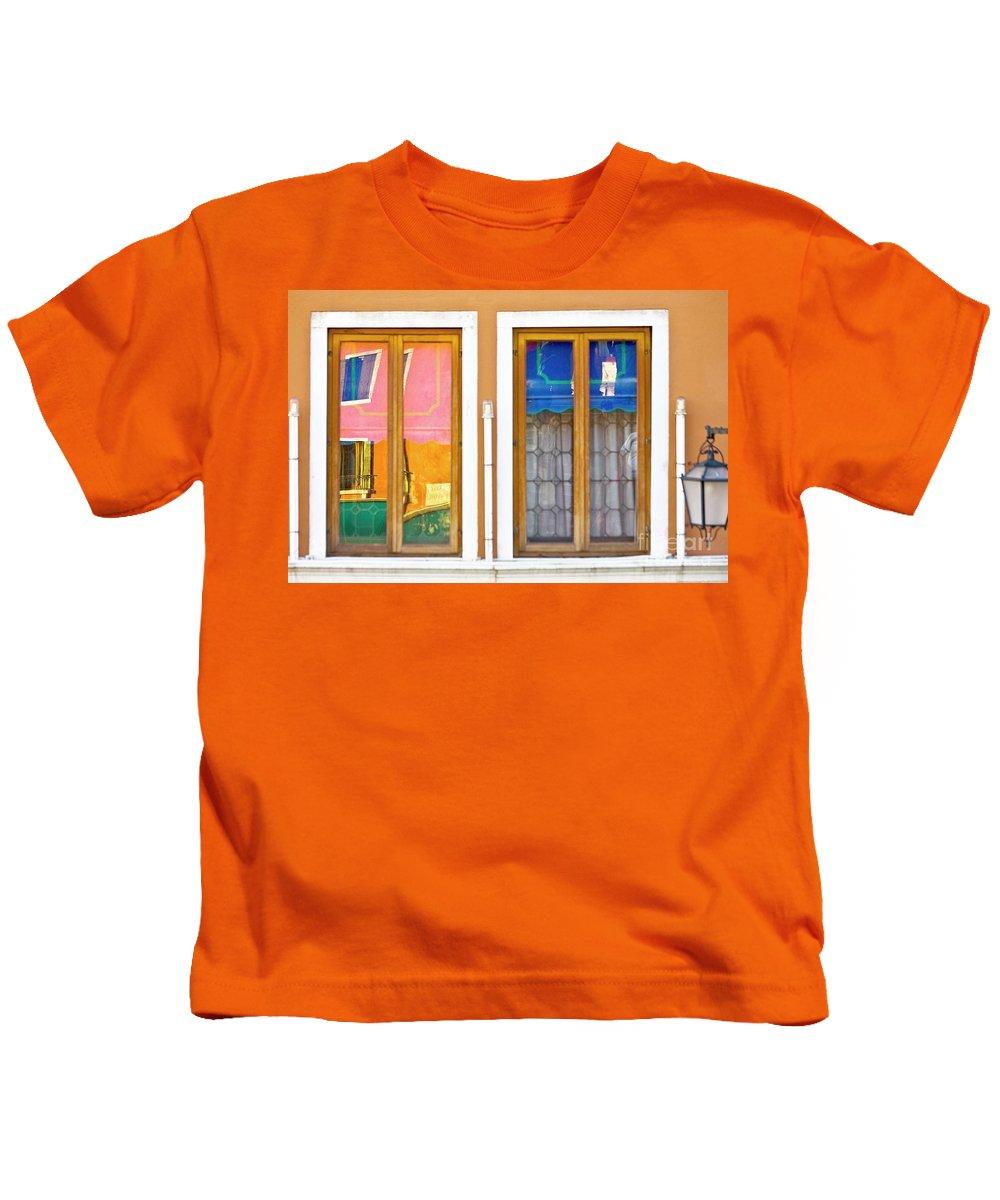 Europe Kids T-Shirt featuring the photograph Venetian Window Reflections by Heiko Koehrer-Wagner