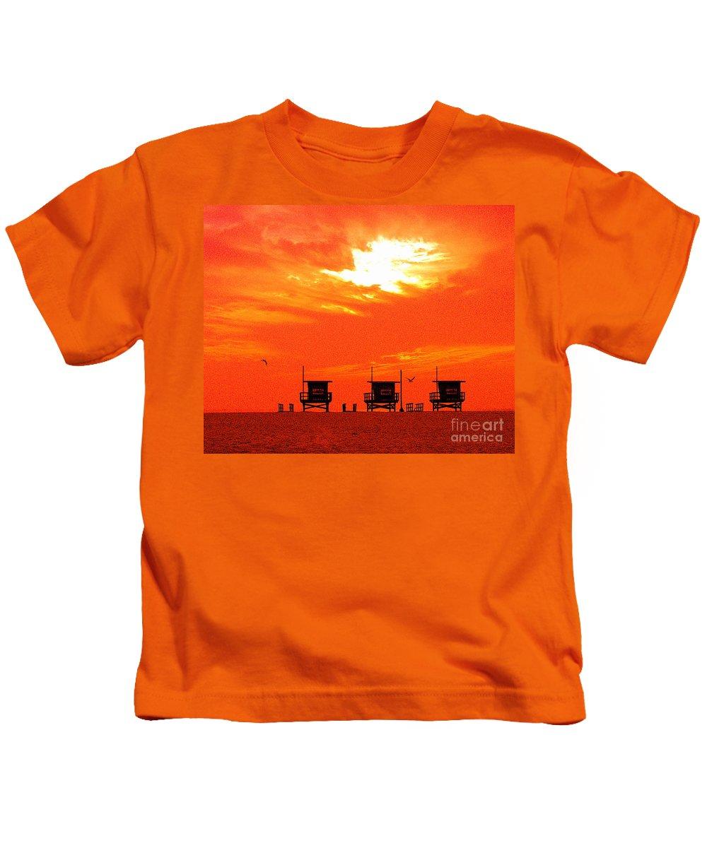 Venice Beach Kids T-Shirt featuring the photograph Venice Beach by Jerome Stumphauzer