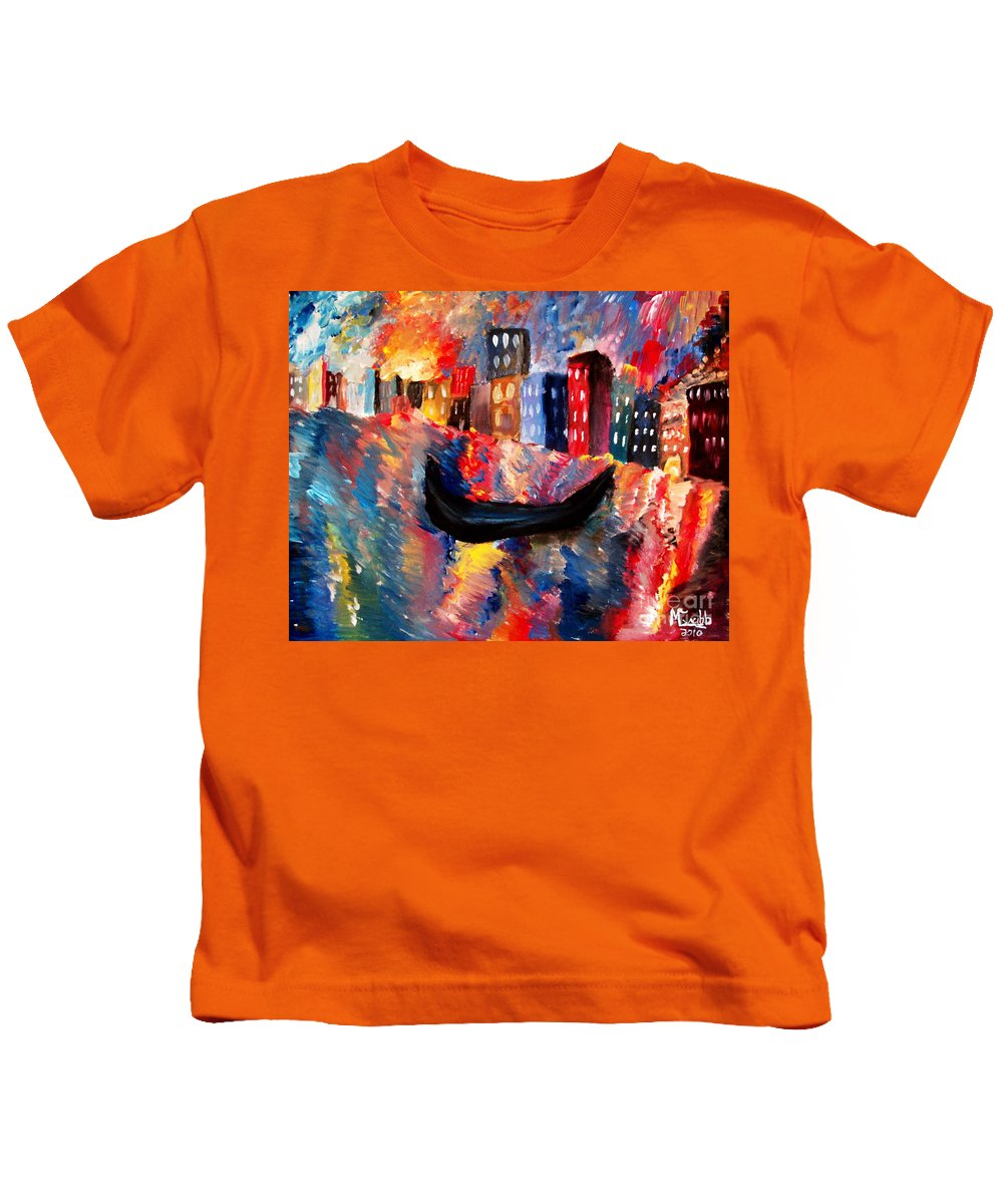 Venice Kids T-Shirt featuring the painting Venice By Night by Michael Grubb