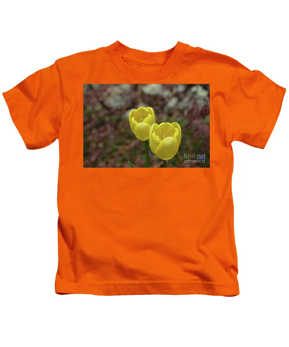 Tulip Kids T-Shirt featuring the photograph Very Pretty Pair Of Flowering Yellow Tulip Blossoms by DejaVu Designs
