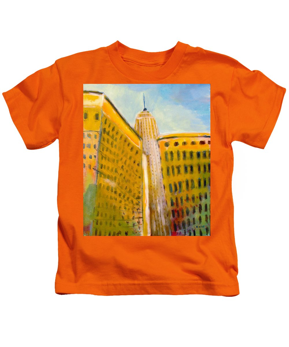 Abstract Cityscape Kids T-Shirt featuring the painting View From The 33 St by Habib Ayat