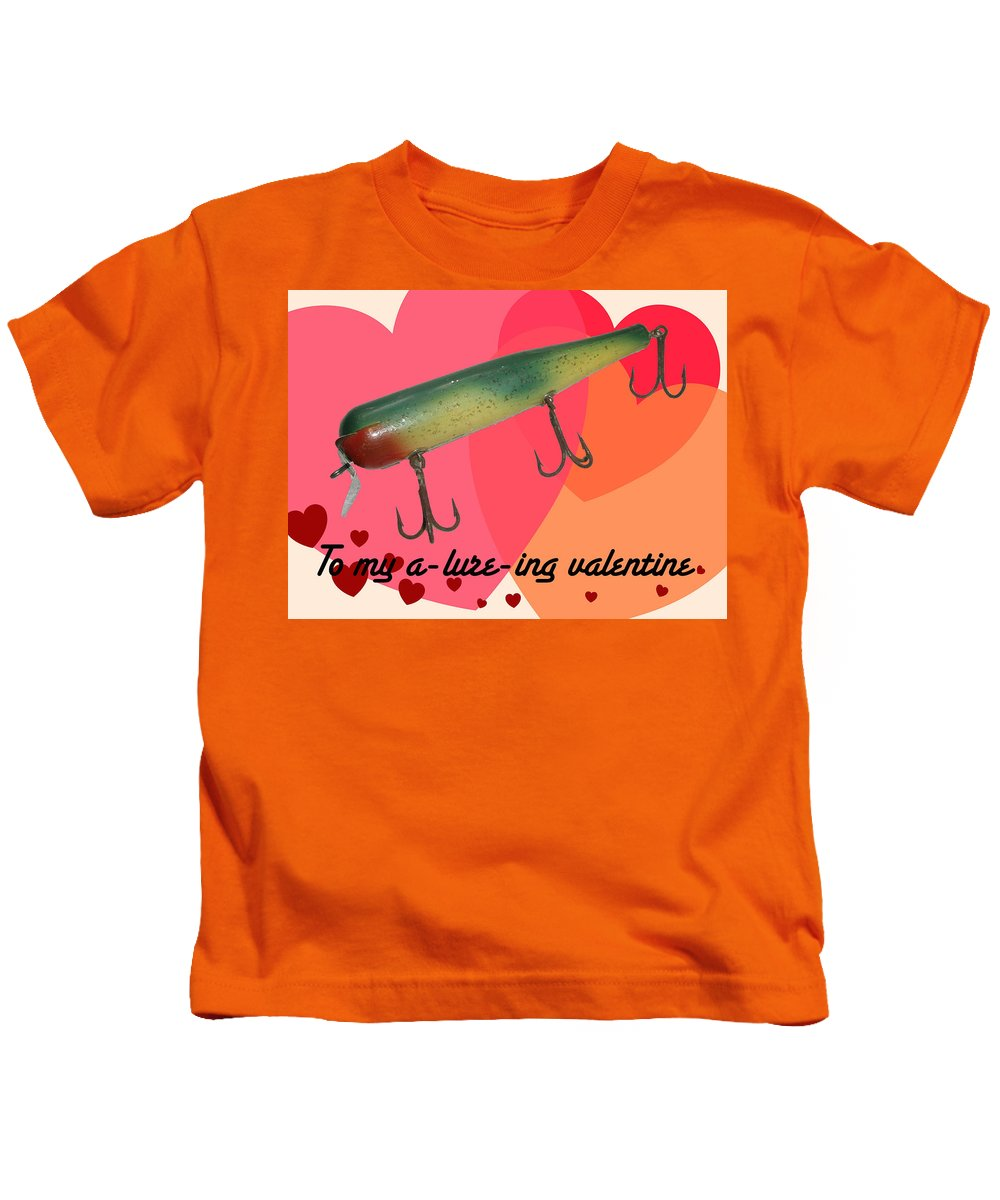 Valentine Kids T-Shirt featuring the photograph Vintage Fishing Lure Valentine Card by Mother Nature